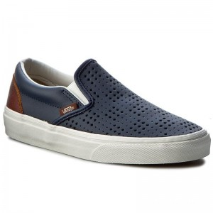 Vans Tennis Classic Slip-On VN0A38F7MU3 (Leather Perf) Dress Blue