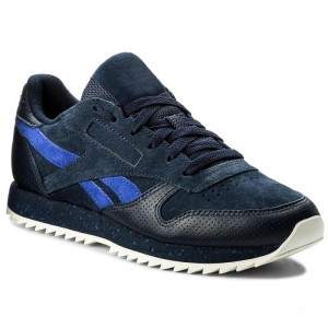 Reebok Chaussures Cl Lthr Ripple Sm BS9727 Collegiate Navy/Acid