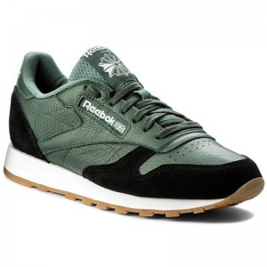Black Friday 2020 | Reebok Chaussures Cl Leather Gi BS9746 Chalk Green/Black/Wht/Gum