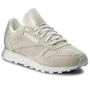 Black Friday 2020 | Reebok Chaussures Cl Lthr Woven Emb BT0006 Chalk/White