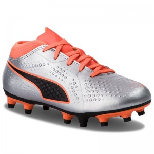 Puma Chaussures One 4 Syn Fg Jr 104782 01 Silver/Orange/Black