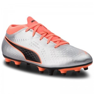 Puma Chaussures One 4 Syn Fg Jr 104782 11 Silver/Orange/Black