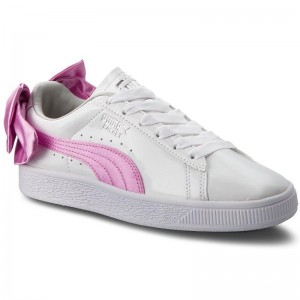 Puma Sneakers Basket Bow Patent Jr 367621 02 White/Orchid/Gray