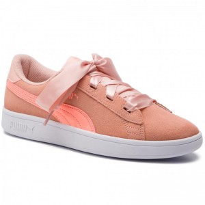 Black Friday 2020 | Puma Sneakers Smash V2 Ribbon Jr 366003 07 Peach Bud/Bright Peach/White