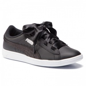 Black Friday 2020 | Puma Sneakers Vikky Ribbon L Satin Jr 369542 04 Black/Puma Silver/White