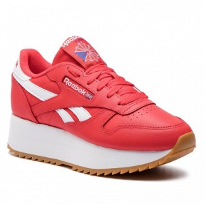 Reebok Chaussures Cl Lthr Double DV3632 Primal Red/Wht/Cobalt