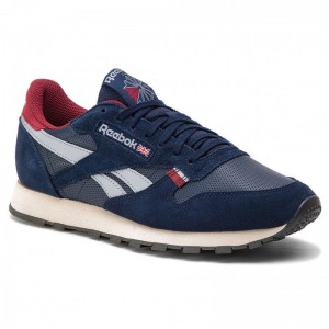 Black Friday 2020 | Reebok Chaussures CL Leather Mu CN7178 Navy/Red/Stucco/Grey