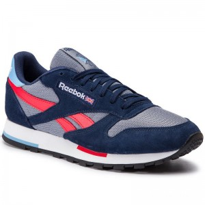 Black Friday 2020 | Reebok Chaussures Cl Leather Mu DV3836 Cold Grey/Navy/White/Red