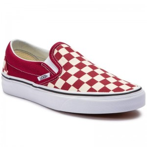 Black Friday 2020 | Vans Tennis Classic Slip-On VN0A38F7VLW1 (Checkerboard) Rumba Red