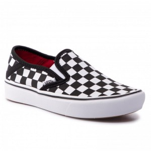 Black Friday 2020 | Vans Tennis Comfycush Slip VN0A3WME5GU1 (Checkerboard) Blk/Truwht