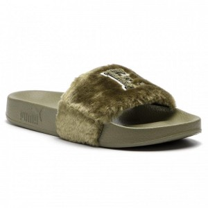 Black Friday 2020 | Puma Mules / sandales de bain Leadcat Fenty Fu Fur 367089 01 Burnt Olive/Puma Black