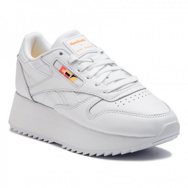 Reebok Chaussures Cl Lthr Double DV5391 White/Neon Red/Black/Gold