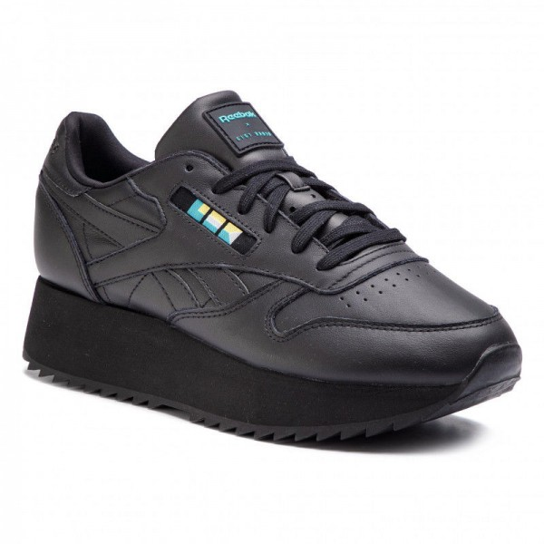 Black Friday 2020 | Reebok Chaussures Cl Lthr Double DV5392 Black/White/Blue/Gold